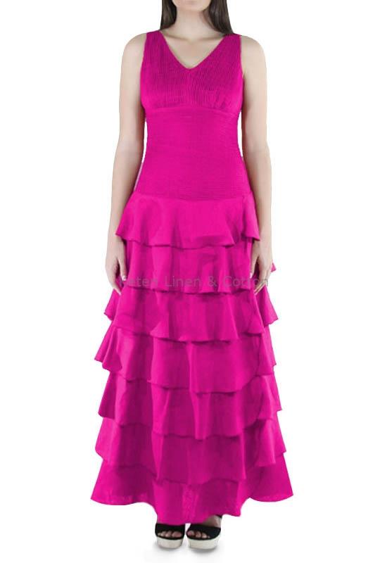 Vestido Con Olanes Color Fucsia Lino 100