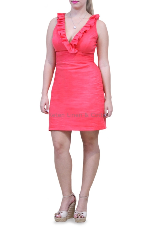 Vestido De Lino 100 Color Coral Sisado Con Olanes