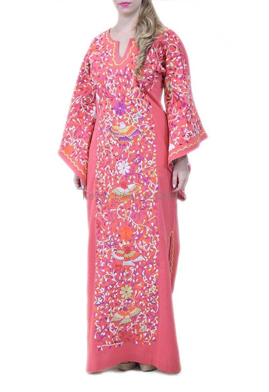 mejor selección 1caad a73a7 Vestido En Manta Color Coral Bordados Artesanales