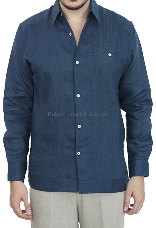 Linen Made Navy Blue Guayabera Shirt Keten