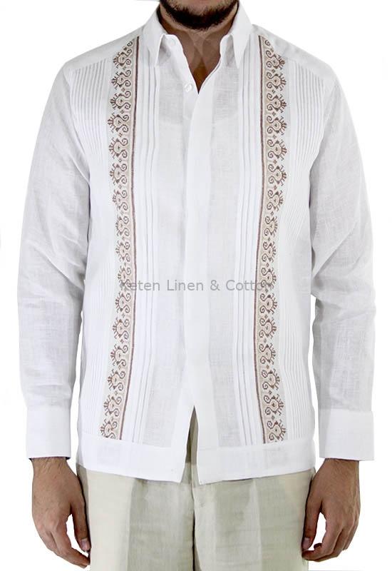 7684c1e2f4 Hand Embroidered White Irish Linen Guayabera