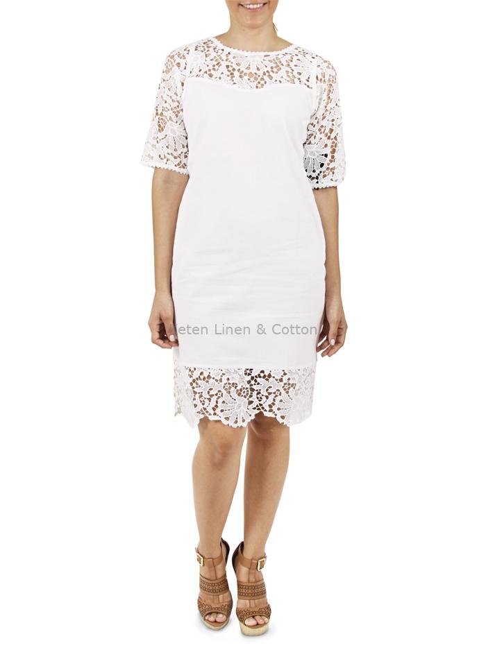 0ec344e41b Vestido Blanco Corto con Encaje color Blanco