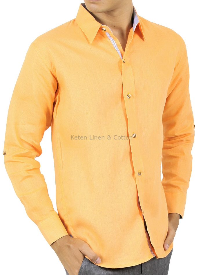 Orange Shirt 100% Linen SHIRTS 4b02ac928