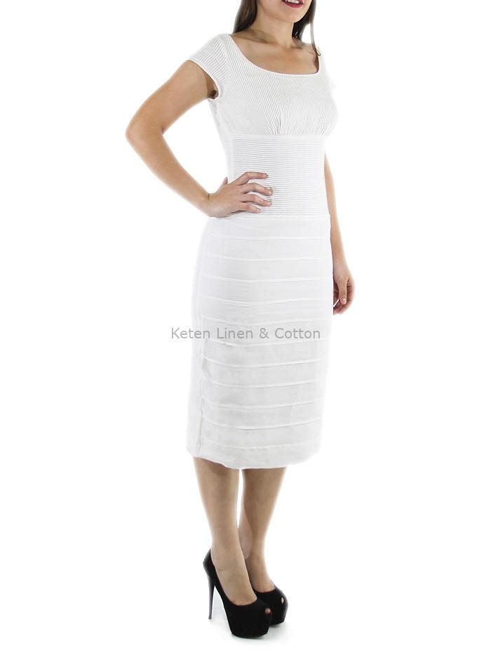 6103b41a06 Vestido de Alta Costura Con Lino Color Blanco Corte Chanel VESTIDOS ...