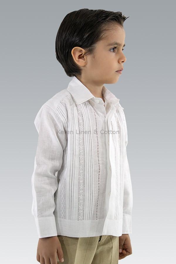 nueva vendido en todo el mundo comprar online Guayabera Blanca 100% de Lino Para Niño