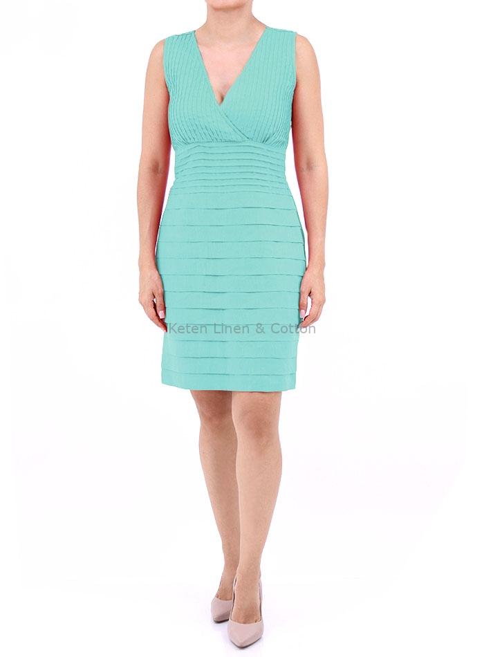 Vestido Color Aqua De Lino 100