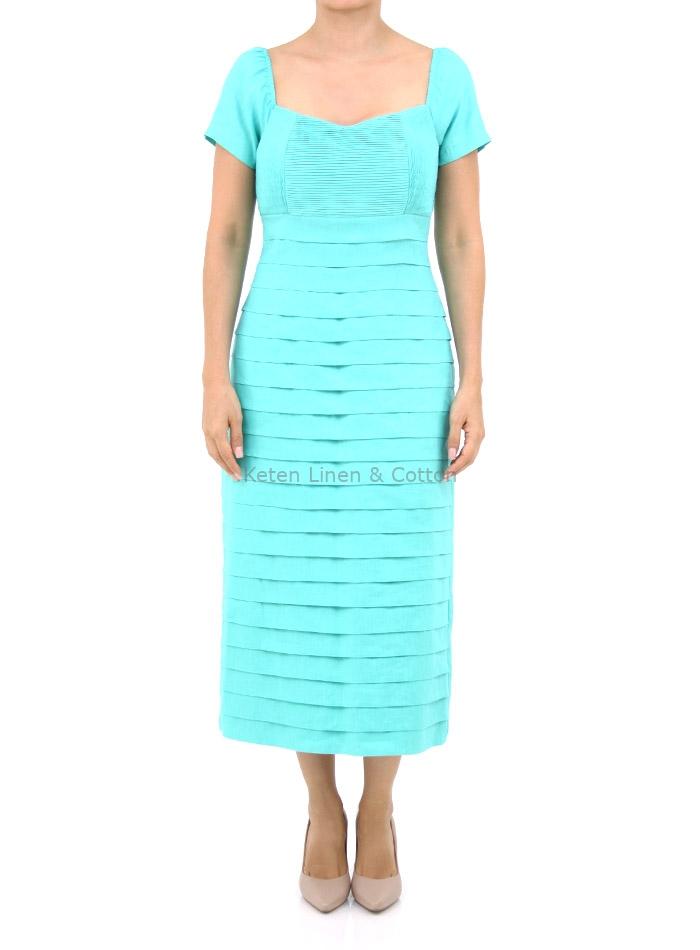 Vestido Largo Color Aqua 100 Lino