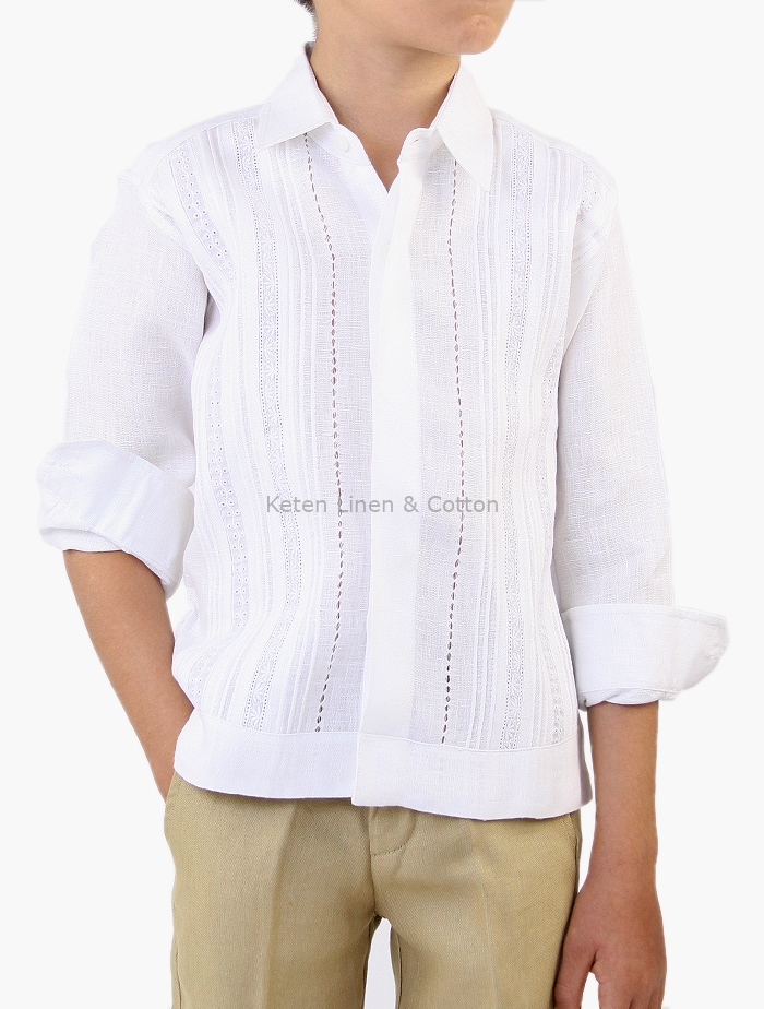 58a6a79857 Guayabera 100% Linen with Tucks and Lace Long Sleeve White