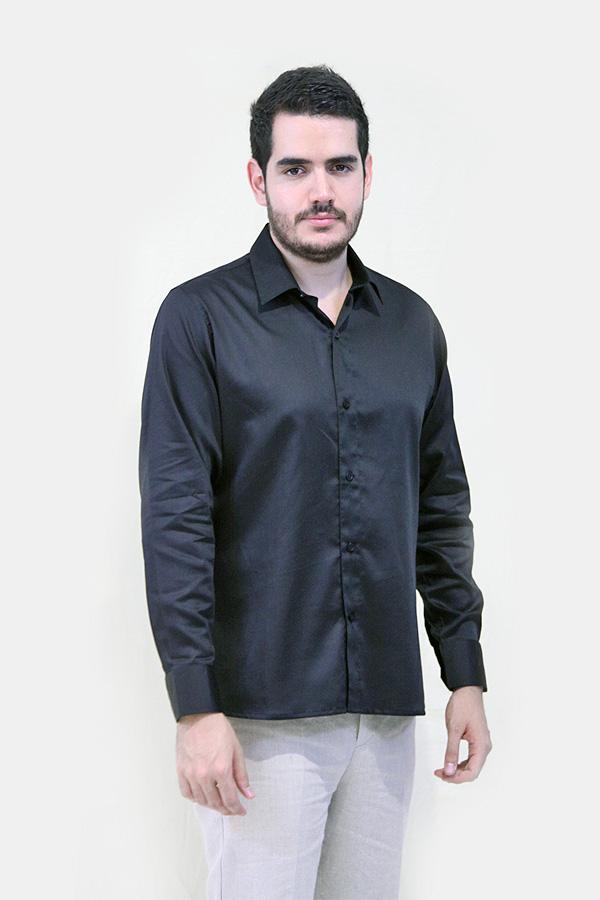 Camisa de Algodon Egipcio Color Negro Slimfit