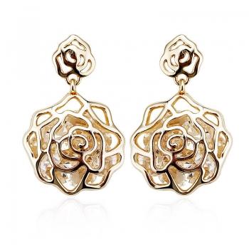Aretes de Flor con Baño de Oro JOYERIA