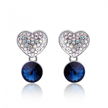 Swarovski Heart Earrings in Blue JEWELRY