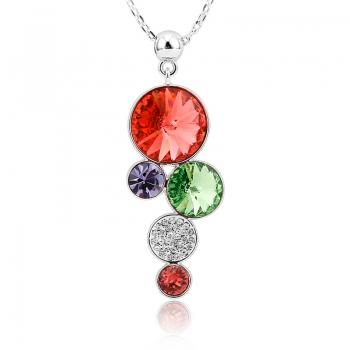 Precioso Collar de Círculos Swarovski Rojos JOYERIA