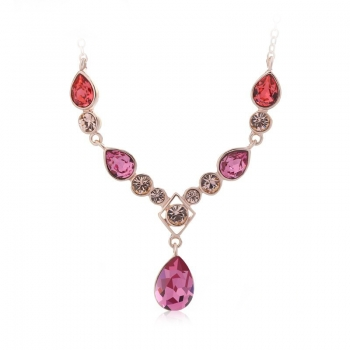 Swarovski Crystal Necklace in Pink JEWELRY