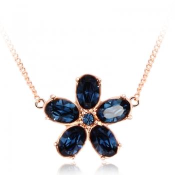 Blue Swarovski Flower Necklace JEWELRY