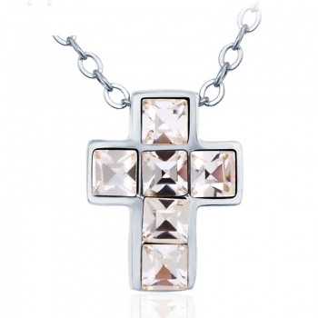 Rhodium Swarovski Cross Necklace JEWELRY