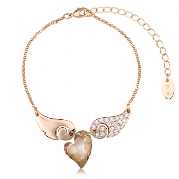 Bracelet with Heart and Swarovski Wings JEWELRY