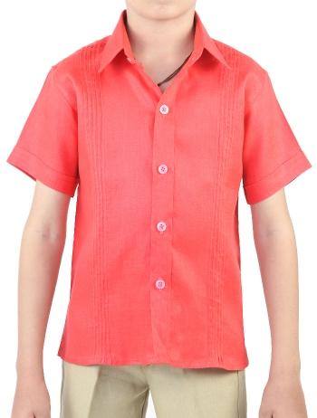 Camisa de Lino 100% Coral Para Niños CAMISAS