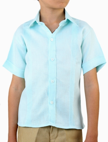 100% Linen Blue Short-Sleeved Shirt (Kids) SHIRTS
