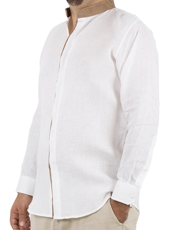 Brown Color Mandarin Collar White Linen Shirt SHIRTS