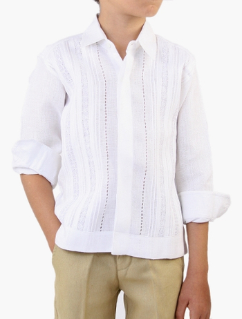 Guayabera 100% Linen with Tucks and Lace Long Sleeve White GUAYABERAS