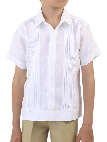 Guayabera 100% Linen with Tucks Short Sleeve White GUAYABERAS
