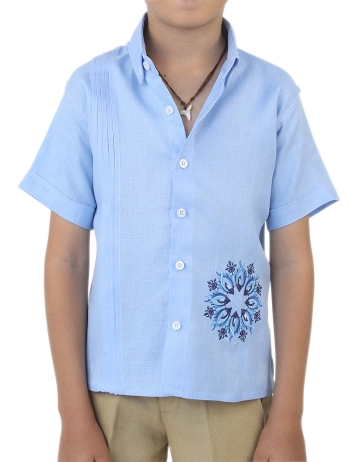 Linen Shirt  Short Sleeve with Tucks and Embroidery (Kids) GUAYABERAS