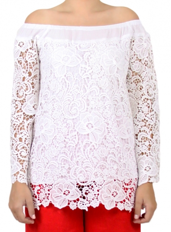 White Cotton Blouse Without Shoulders WOMEN