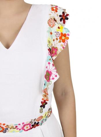 Vestido Largo de Lino con Bordado de Flores MUJER