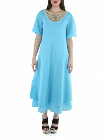 Hand Made Turquoise Cotton Maxi Dress DRESSES