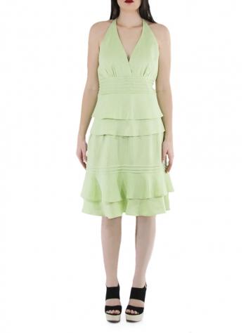Vestido de Lino 100% Con Olanes Color Verde Mojito VESTIDOS