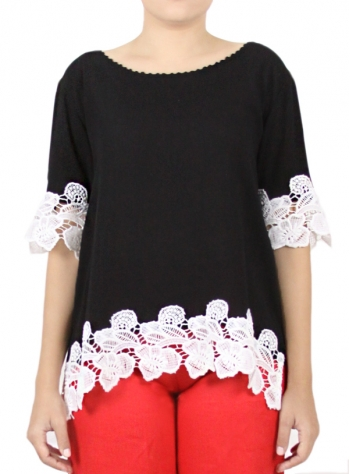 Black Color Cotton Blouse With Lace TOPS