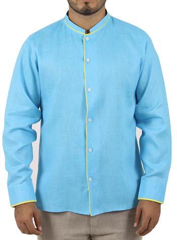 Mandarin Collar Turquoise Line Shirt SHIRTS