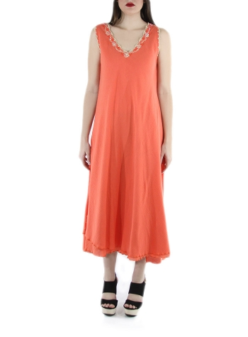 Hand Made Coral Color Cotton Maxi Dress DRESSES