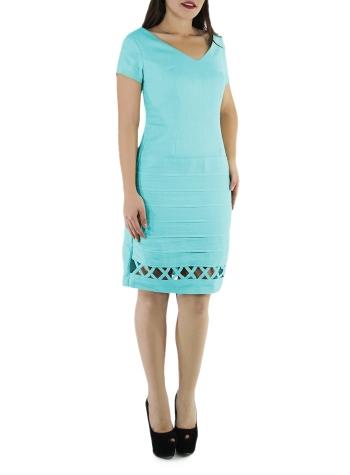 Vestido Corto de Lino 100% Color Aqua VESTIDOS