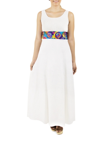 Long White Linen Dress with Embroidery on Waistline DRESSES
