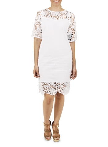 White Short Cotton Dress with Lace DRESSES