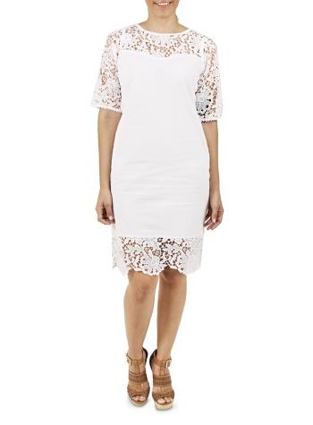 Vestido Blanco Corto con Encaje color Blanco VESTIDOS