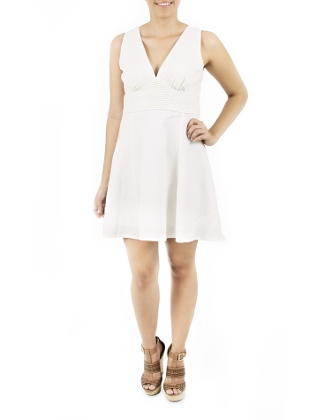 Vestido Corto con Pliegues Color Blanco