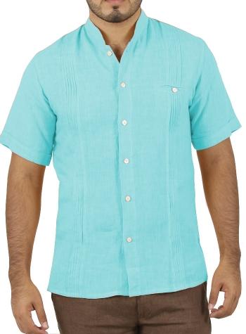 Camisa de Lino Manga Corta Color Aqua CAMISAS