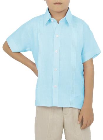 Camisa para Niños Manga Corta color Aqua CAMISAS