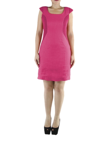 Vestido Corto de Color Cereza Lino 100% Sisado VESTIDOS