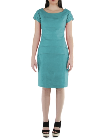 Flounced 100% Emerald Linen Short Dress DRESSES