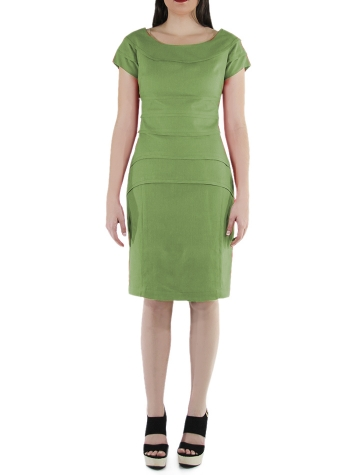 Apple Green Flounced 100% Linen Short Dress DRESSES
