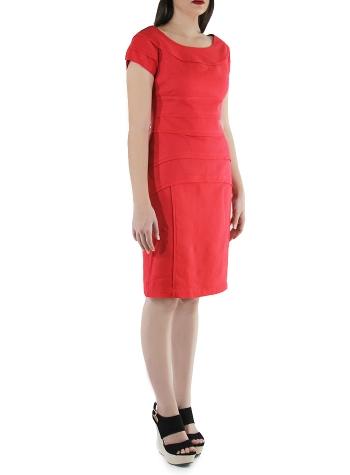Flounced 100% Red Linen Short Dress DRESSES