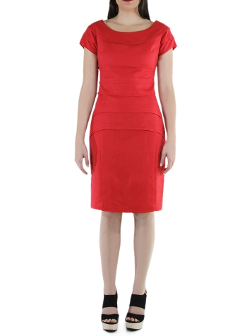 Flounced 100% Red Linen Short Dress DRESSES