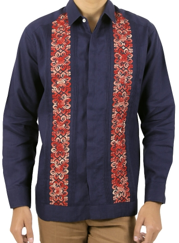 Guayabera Fina de Lino Azul con Bordados Rojos Vallarta