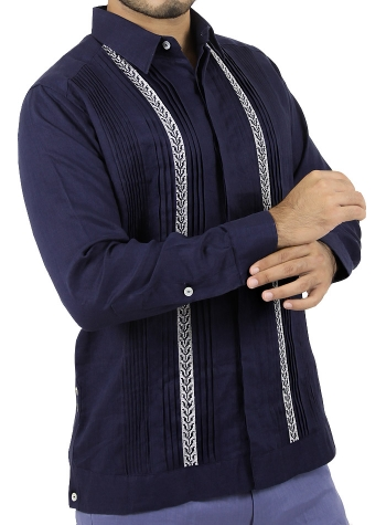 Pattern Embroidered Blue Irish Linen Guayabera Shirt GUAYABERAS
