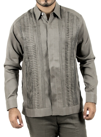 Grey Long Sleeve Guayabera GUAYABERAS