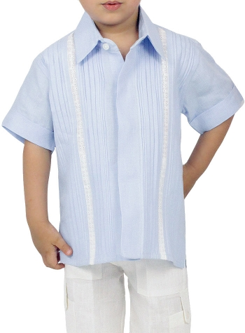 100% Linen Blue Shirt (Kids) GUAYABERAS