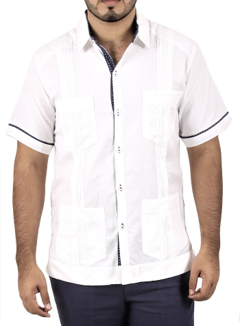 Cotton Cuban Guayabera 4 pocket with blue details GUAYABERAS